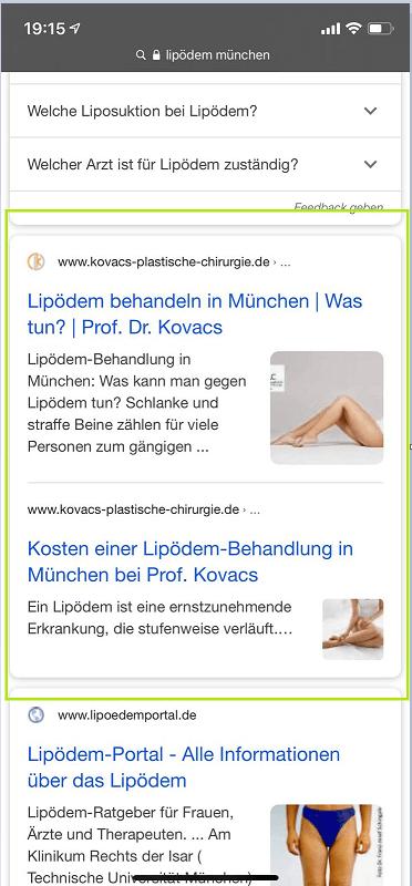 """Screenshot zur mobile Suche """"Lpödem München"""""""