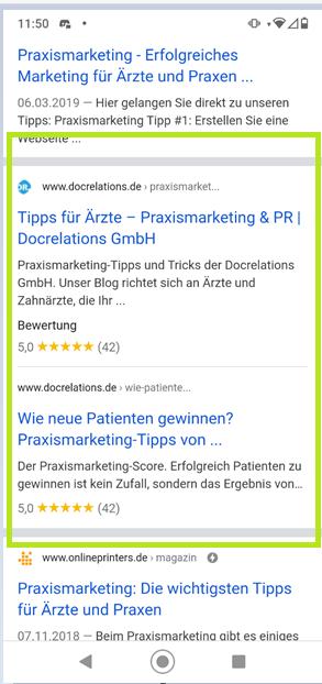 """Screenshot zur mobile Suche """"Praxismarketing Tipps"""""""